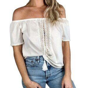 H&M Cream Off The Shoulder Cottage Core Tassel top
